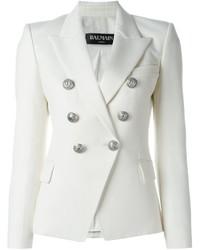 Blazer en laine blanc Balmain