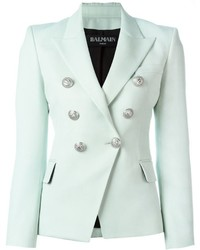 Blazer en laine bleu clair Balmain