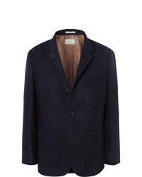 Blazer en laine bleu marine Brunello Cucinelli