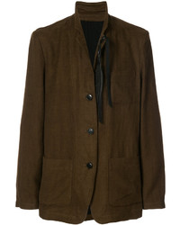 Blazer en laine brun foncé Ann Demeulemeester