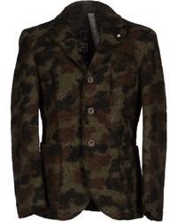 Blazer en laine camouflage olive