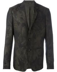 Blazer en laine camouflage vert foncé Roberto Cavalli