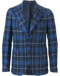 Blazer en laine écossais bleu Tagliatore