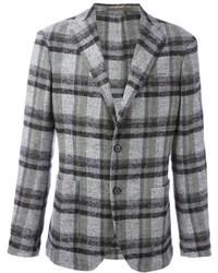 Blazer en laine écossais gris
