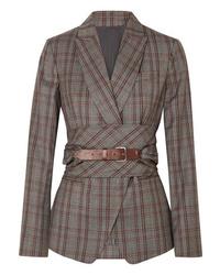 Blazer en laine écossais gris Brunello Cucinelli