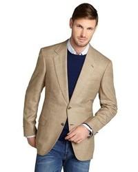 Blazer en laine écossais marron clair