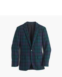 Blazer en laine écossais vert foncé