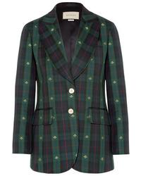 Blazer en laine écossais vert foncé Gucci