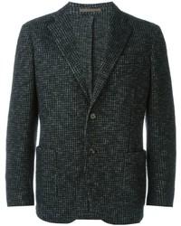 Blazer en laine en pied-de-poule gris foncé