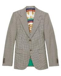 Blazer en laine en pied-de-poule gris Gucci