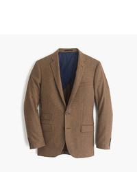 Blazer en laine en pied-de-poule marron