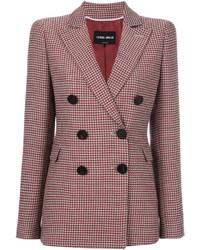 Blazer en laine en pied-de-poule rouge Giorgio Armani