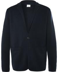 Blazer en laine en tricot bleu marine