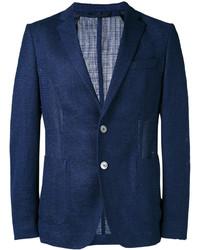 Blazer en laine en tricot bleu marine Hugo Boss
