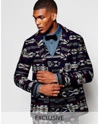Blazer en laine géométrique bleu marine Reclaimed Vintage