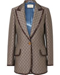 Blazer en laine marron Gucci