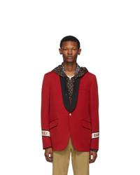 Blazer en laine rouge Gucci