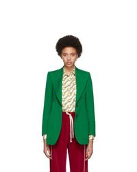 Blazer en laine vert Gucci