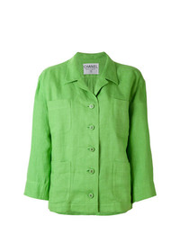 Blazer en lin vert Chanel Vintage