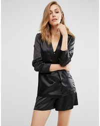 Blazer en satin noir Missguided