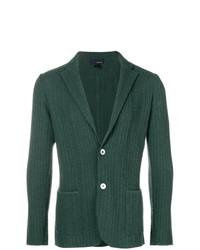 Blazer en tricot vert foncé Lardini
