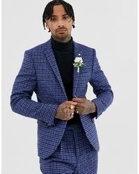 Blazer en tweed à carreaux bleu marine Twisted Tailor