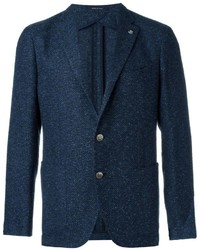 Blazer en tweed bleu marine