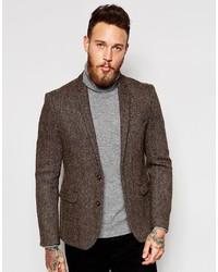 Blazer en tweed marron foncé