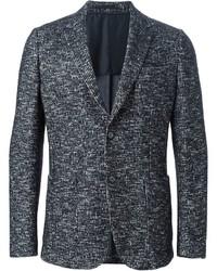 Blazer en tweed noir et blanc Z Zegna
