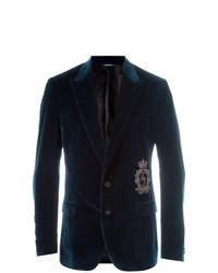 Blazer en velours bleu marine Dolce & Gabbana