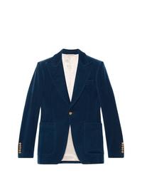 Blazer en velours bleu marine Gucci