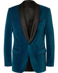 Blazer en velours bleu marine Hugo Boss