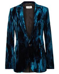 Blazer en velours bleu marine Saint Laurent
