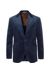 Blazer en velours côtelé bleu marine Brunello Cucinelli