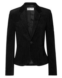 Blazer en velours côtelé noir Saint Laurent