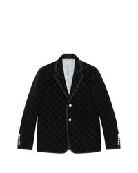 Blazer en velours imprimé noir Gucci