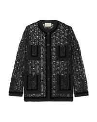 Blazer en velours noir Gucci