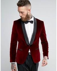 Blazer en velours rouge Hugo Boss