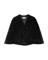 Blazer façon cape en velours noir Gucci