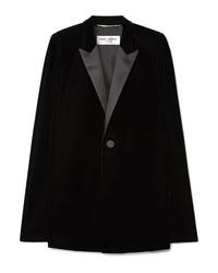 Blazer façon cape en velours noir Saint Laurent