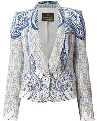 Blazer imprimé cachemire blanc et bleu