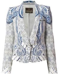 Blazer imprimé cachemire blanc et bleu Roberto Cavalli