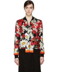 Blouson aviateur à fleurs noir Dolce & Gabbana