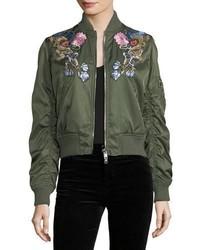 Blouson aviateur à fleurs vert foncé