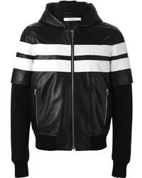 Blouson aviateur à rayures horizontales noir et blanc Givenchy