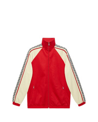 Blouson aviateur blanc et rouge Gucci