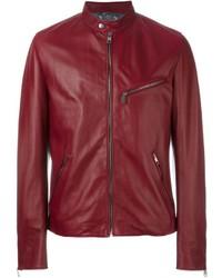 Blouson aviateur en cuir bordeaux Dolce & Gabbana