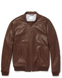 Blouson aviateur en cuir brun Band Of Outsiders