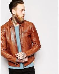 Blouson aviateur en cuir brun Nudie Jeans