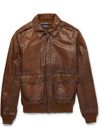 Blouson aviateur en cuir brun Polo Ralph Lauren